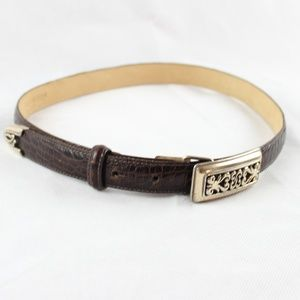 Brighton Brown Leather Croc Embossed & Silver Belt